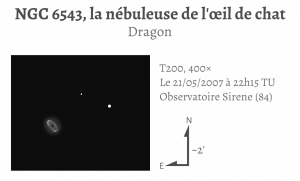 NGC 6543, la nébuleuse de l'œil de chat (T203, 400×)
